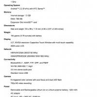 HTC Desire HD Spec sheet