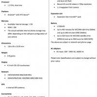 HTC Evo 3D spec sheet
