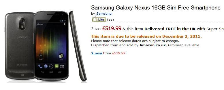 galaxy nexus uk december 2 amazon