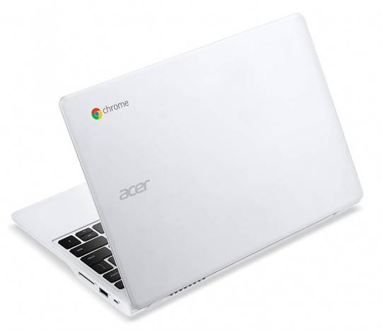 Acer C720 Chromebook white touch rear left angle