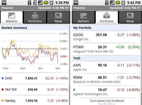 Google Finance for Android app released - Android Community