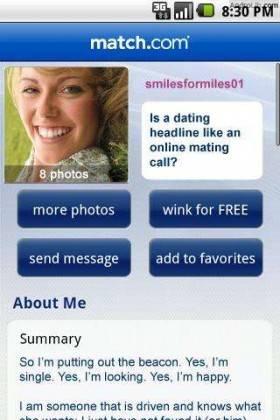 Dating Headline match.com exempel