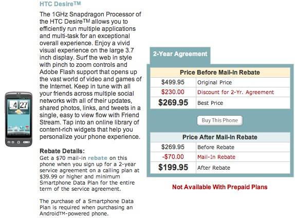 U S  Cellular launch HTC Desire for $200 - Android Community