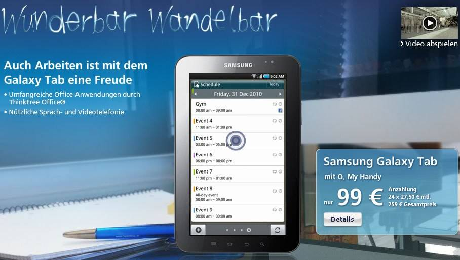 O2 Germany Samsung Galaxy Tab