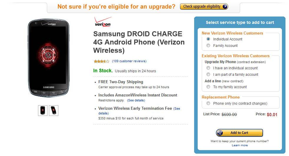 droid charge one penny amazon