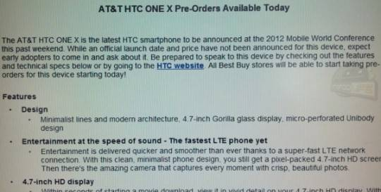 Best Buy already taking pre-orders for HTC One X