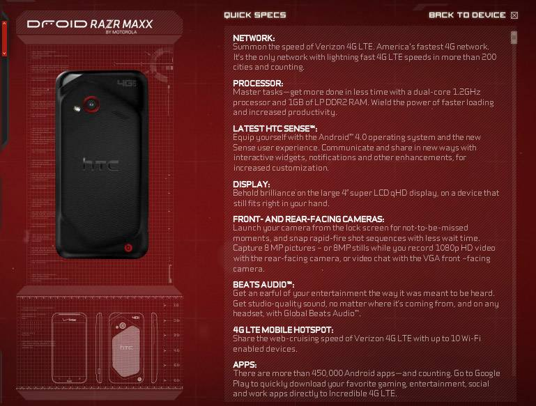 droid does incredible 4g specs