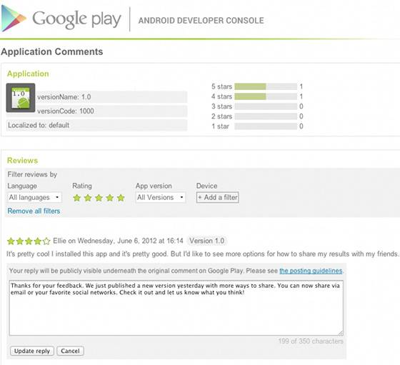 Google Play Store now allowing developers to reply to user reviews