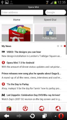 Opera Mini updates with Smart Page for social and news