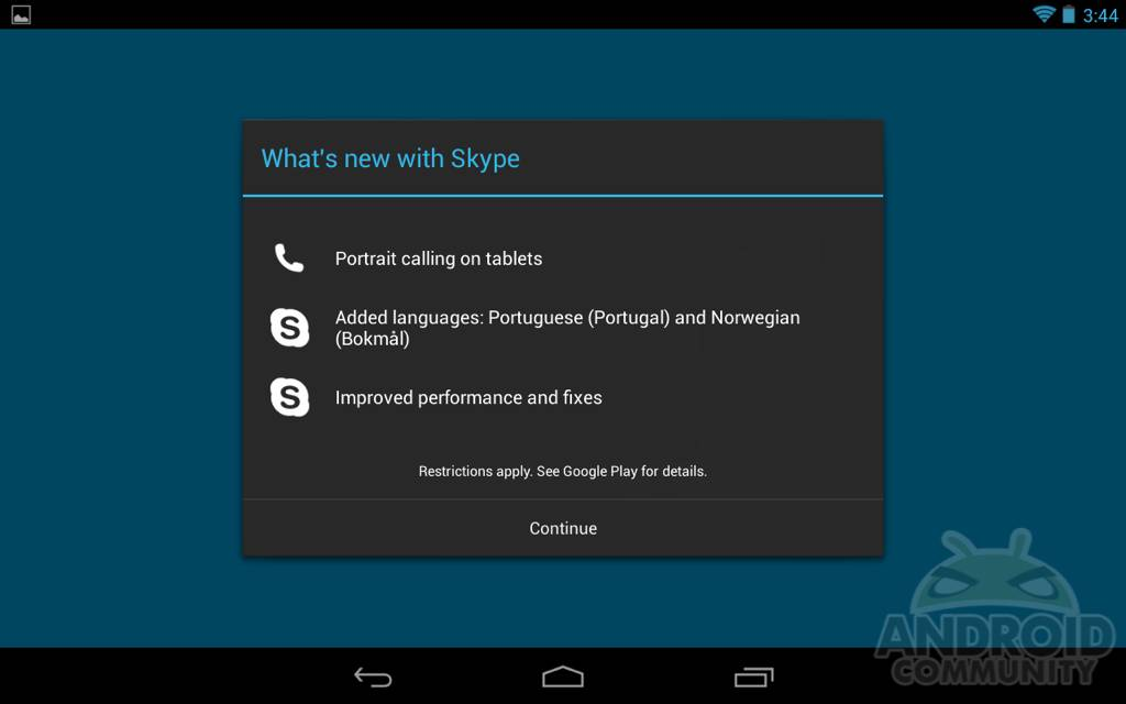 Skype for Android updated with portrait calls on tablets