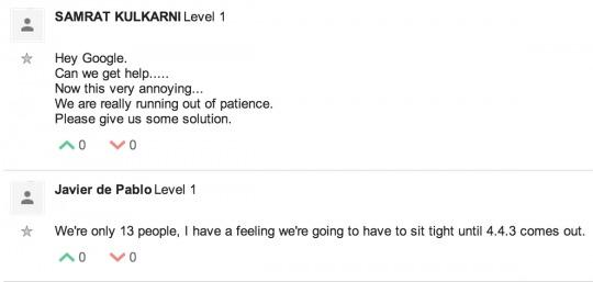 Google product forum message