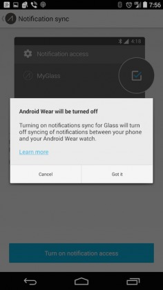 google glass android wear notifications off