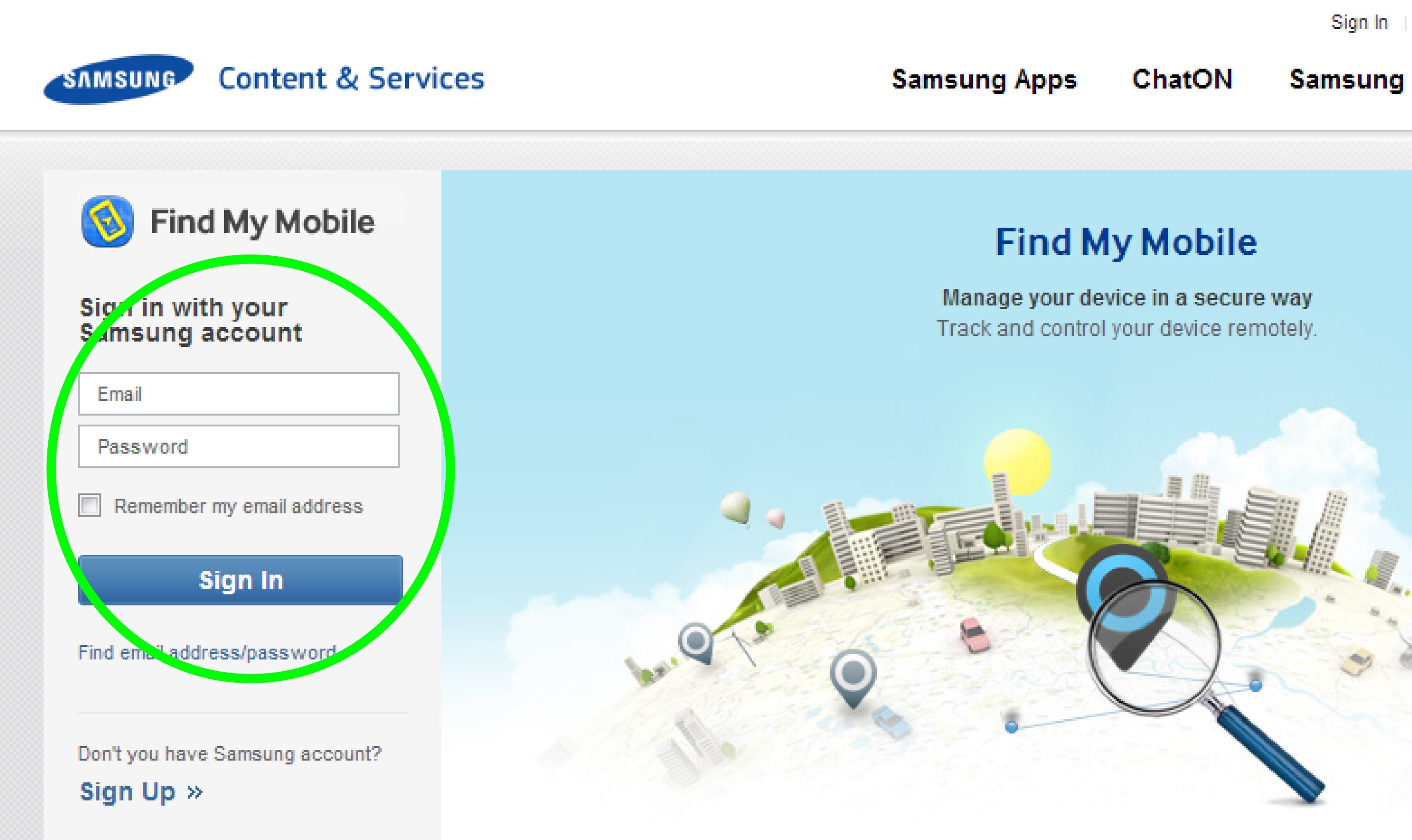Samsung Findmymobile