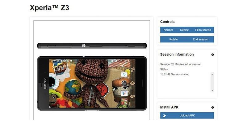 SONY XPERIA Z3 Remote Device Lab