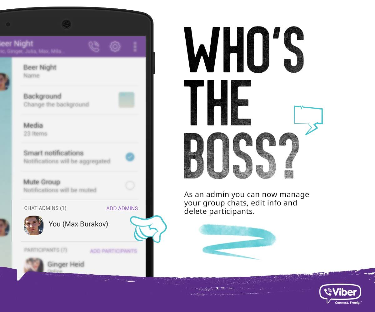 Viber 5 3 update: group admin, support for Android Wear devices
