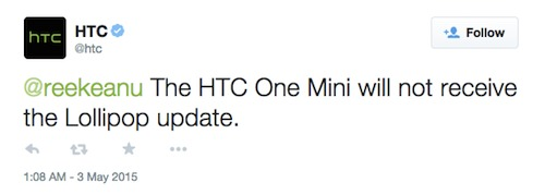 htc one mini no lollipop update