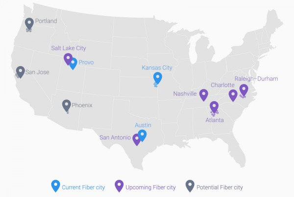 Google Fiber US Map