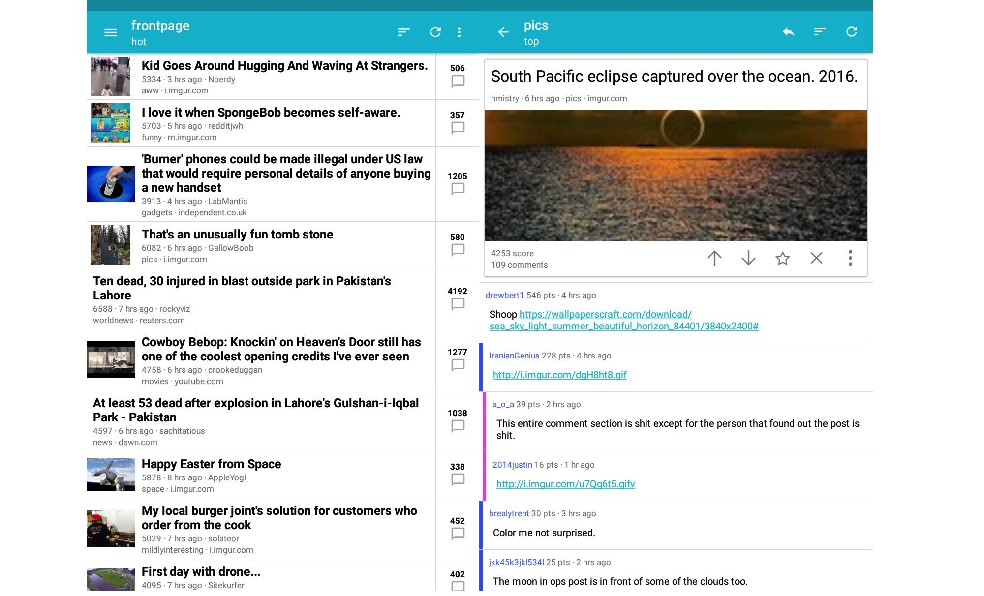 Alien Companion is a new Android reader client for Reddit