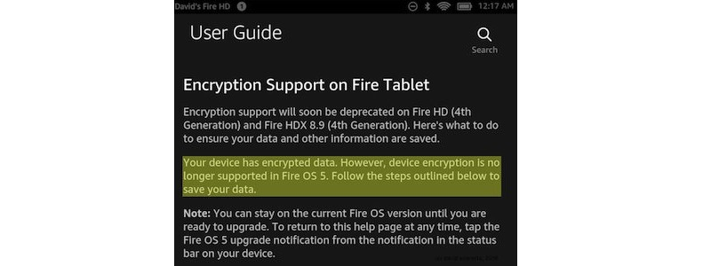 Amazon Encryption Support on Fire Tablet