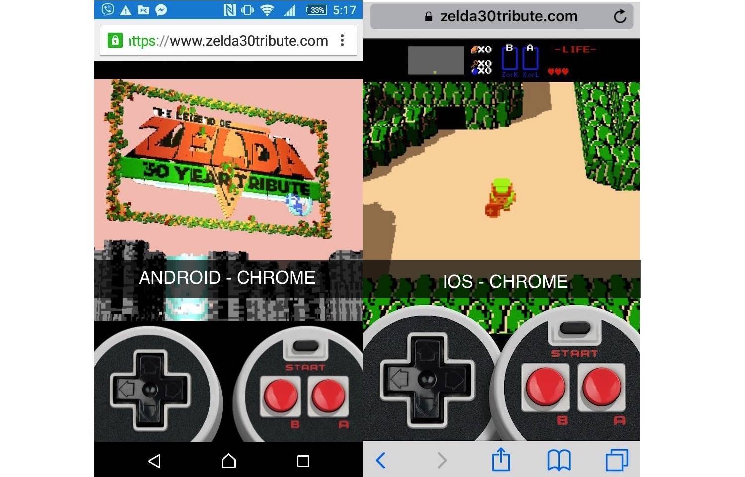 Zelda 30 Tribute Mobile Browsers Android and iOS