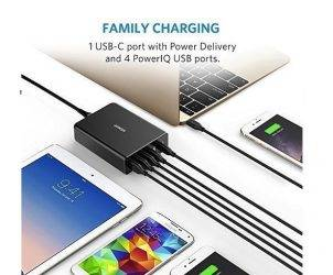 Anker Premium 5-Port 60W USB Wall Charger PowerPort+ 5 USB-C with Power Delivery USB TYPE C 4