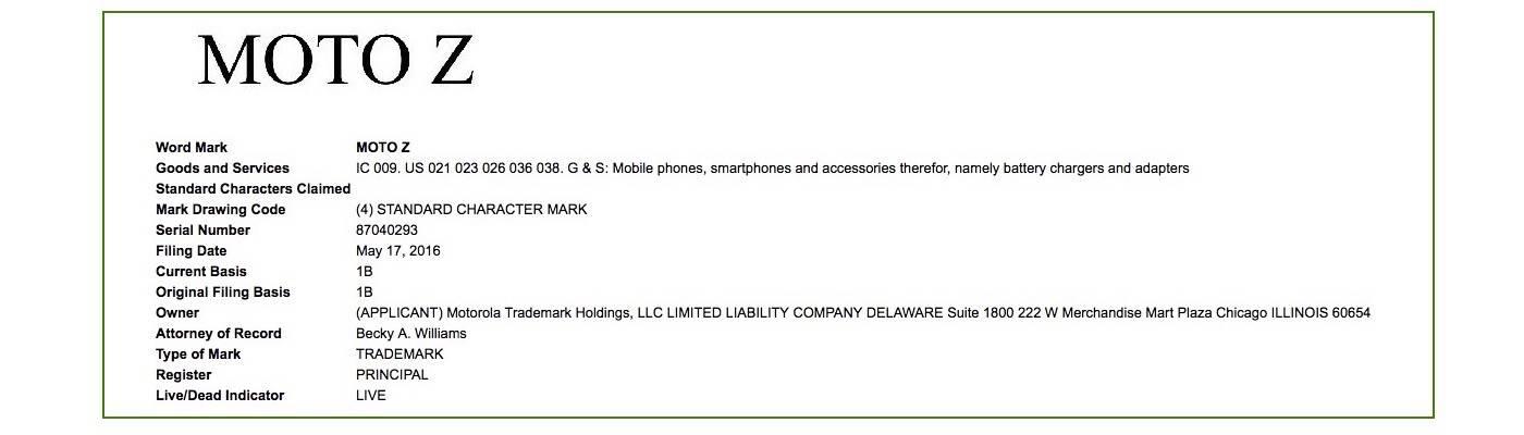 Motorola Moto Z Trademark Lenovo