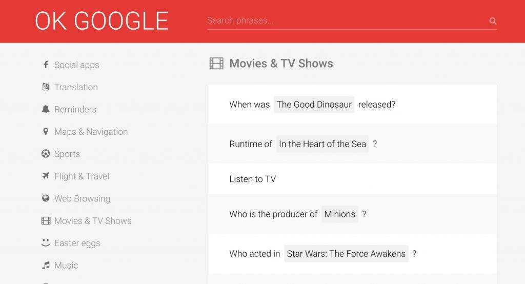OK Google app lists almost all possible voice commands