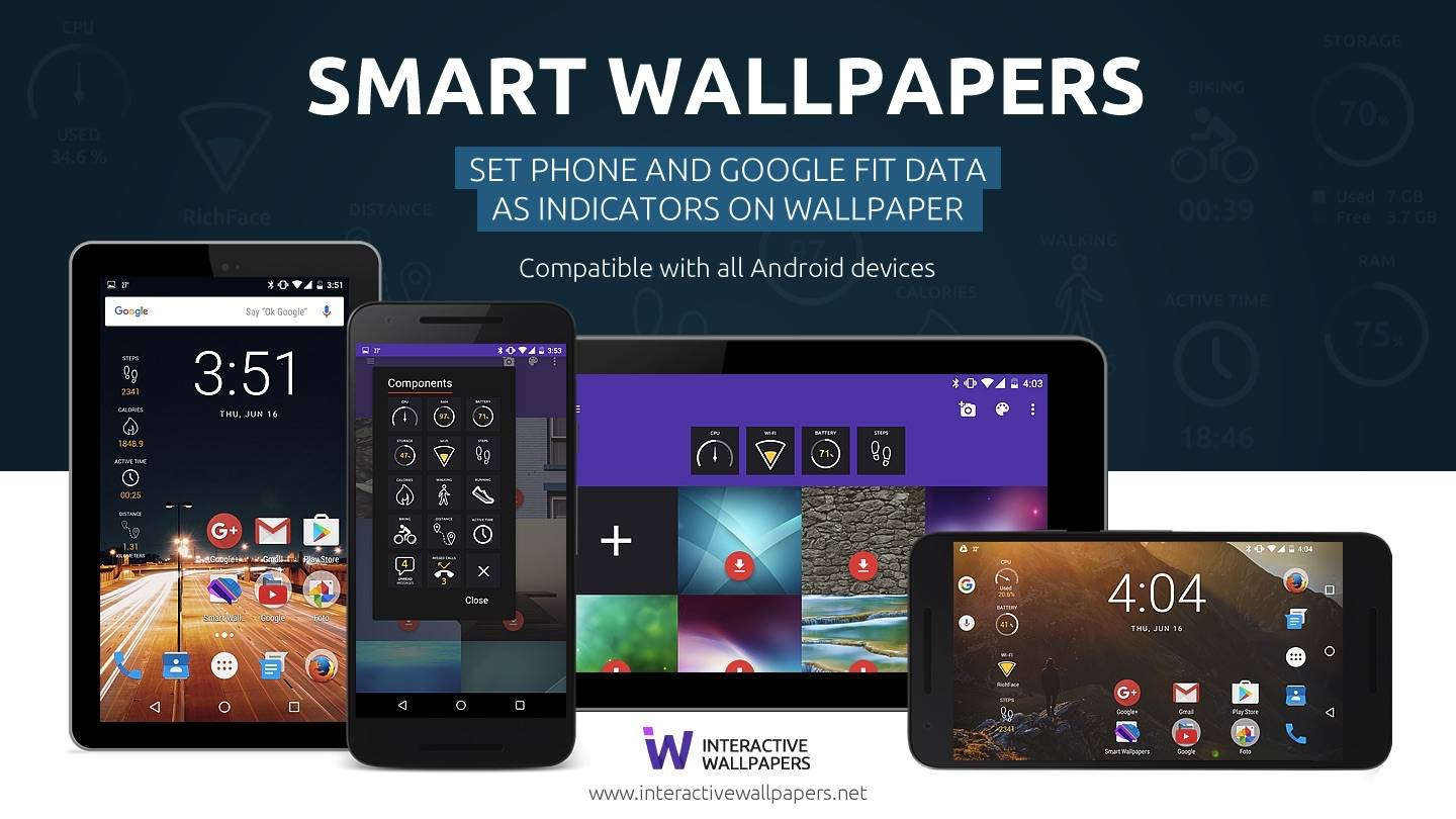 Smart Wallpapers allows device, Google Fit Data as live