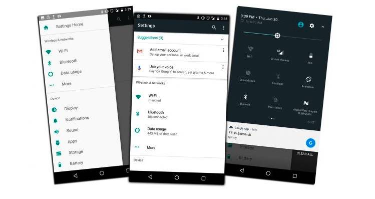Android Nougat New Settings Menu