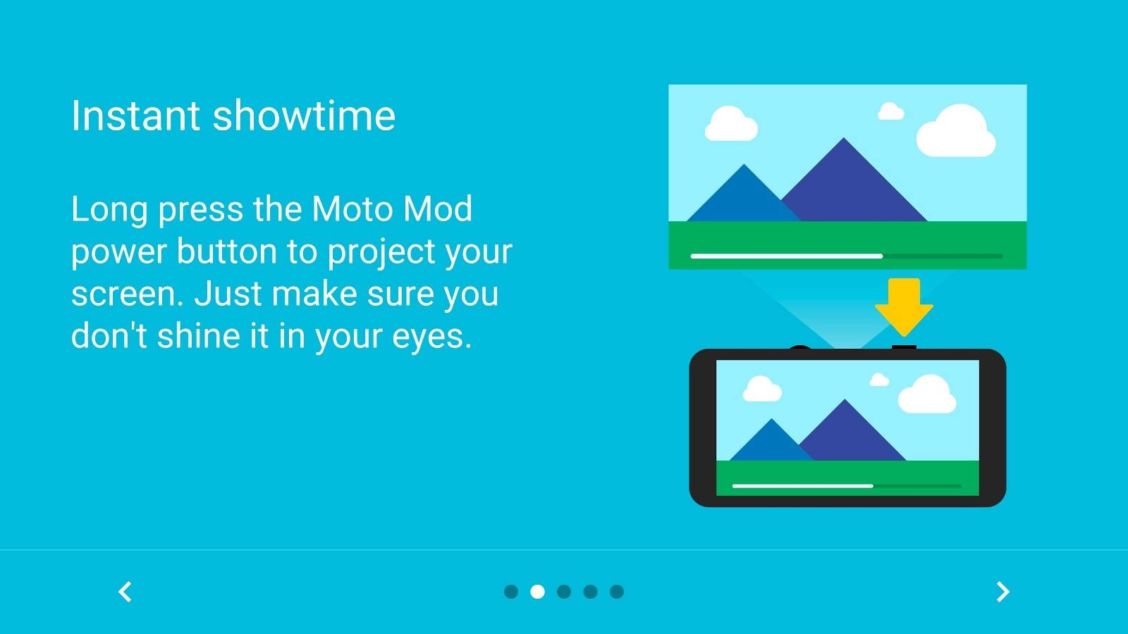 Moto Mods Manager, Moto Mods Projector compatible apps launched by