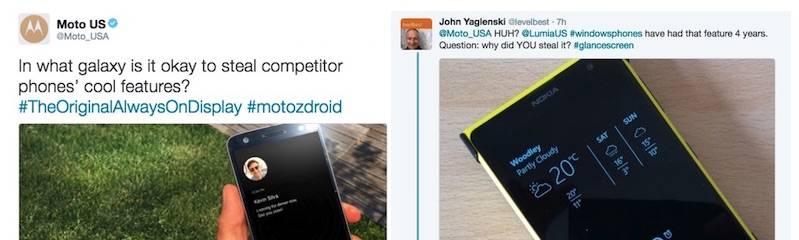Moto Z Always on display Samsung Galaxy