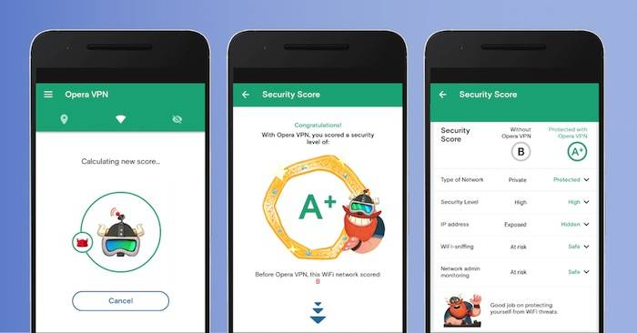 Opera VPN for Android Wi-Fi security test tool
