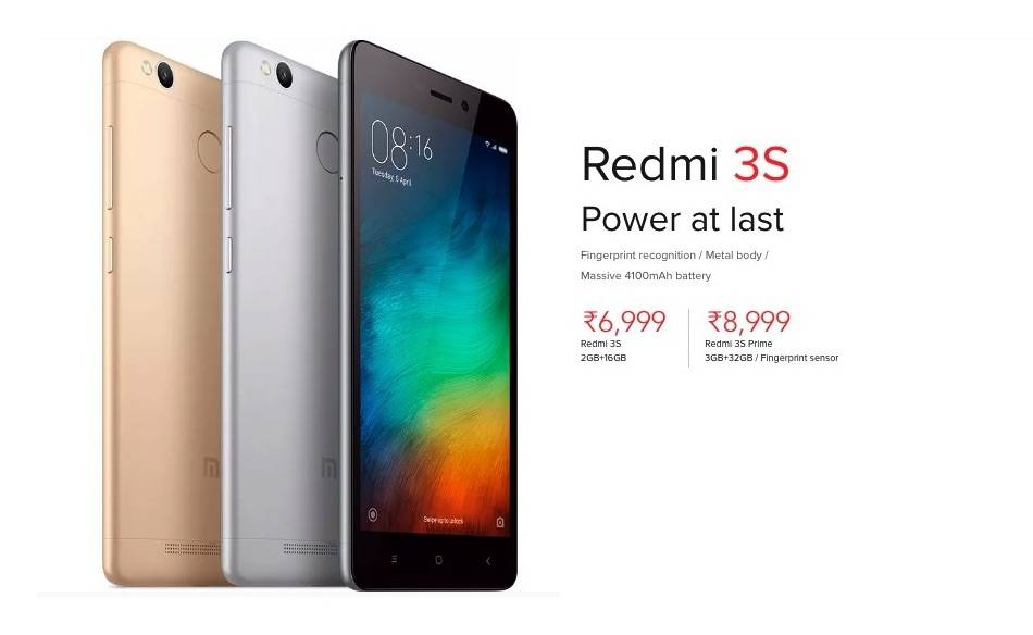Xiaomi       Redmi       3S    released in India with 4100mAh battery