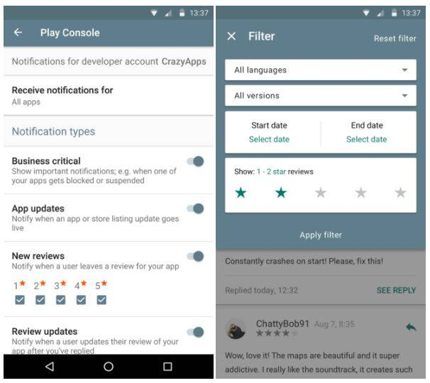 Google Play Developer Console gets new review notifications