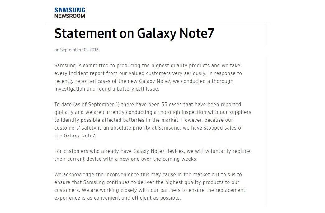 Statement on Samsung Galaxy Note 7