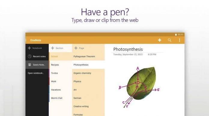 OneNote now allows Undo-Redo, renaming of sections, and auto-correct