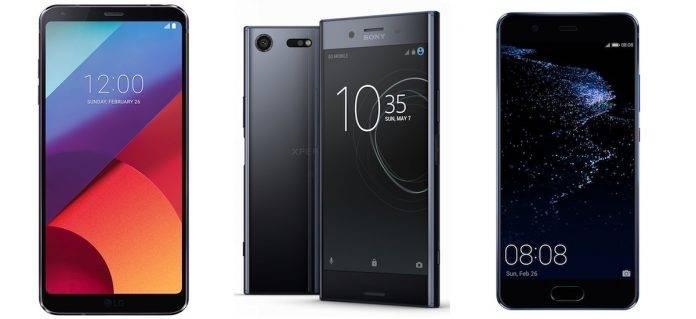 LG G6 vs Sony Xperia XZ Performance vs Huawei P10 Plus Cover 2