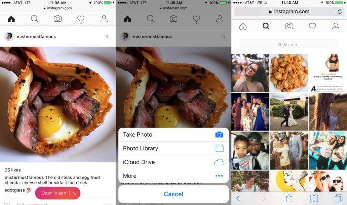 Instagram mobile web version now lets you upload photos - Android