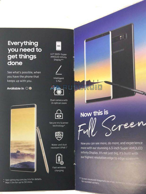 samsung galaxy note 8 promo materials reveal specs and images android community