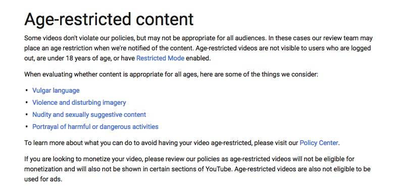 YouTube age-restricted content