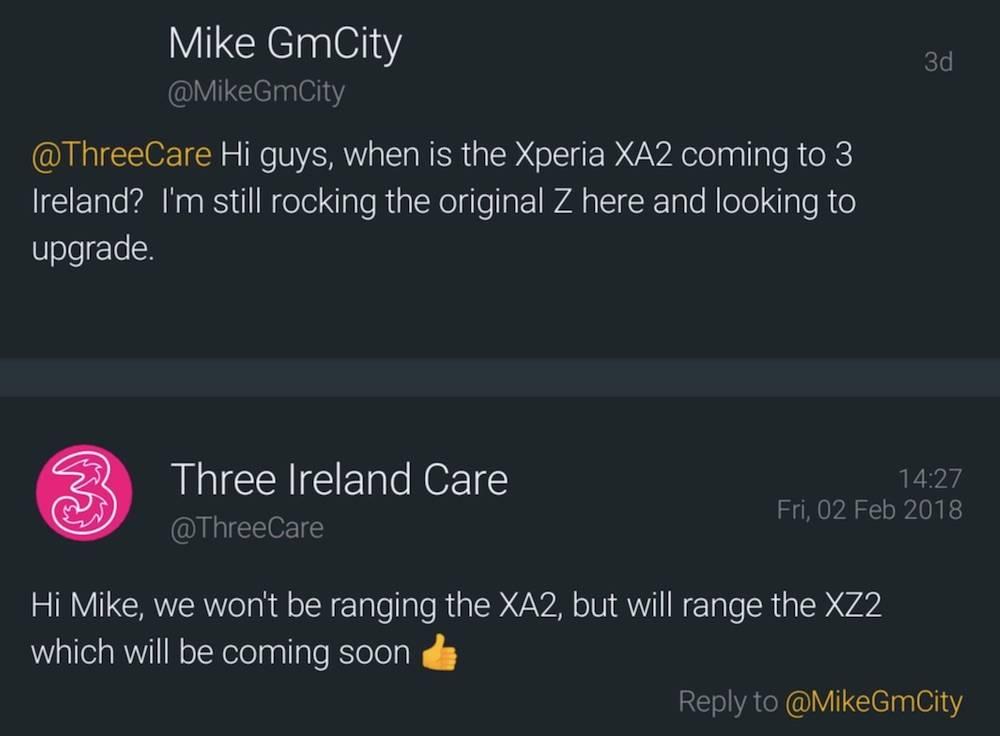 Three Ireland Care Sony Xperia XZ2
