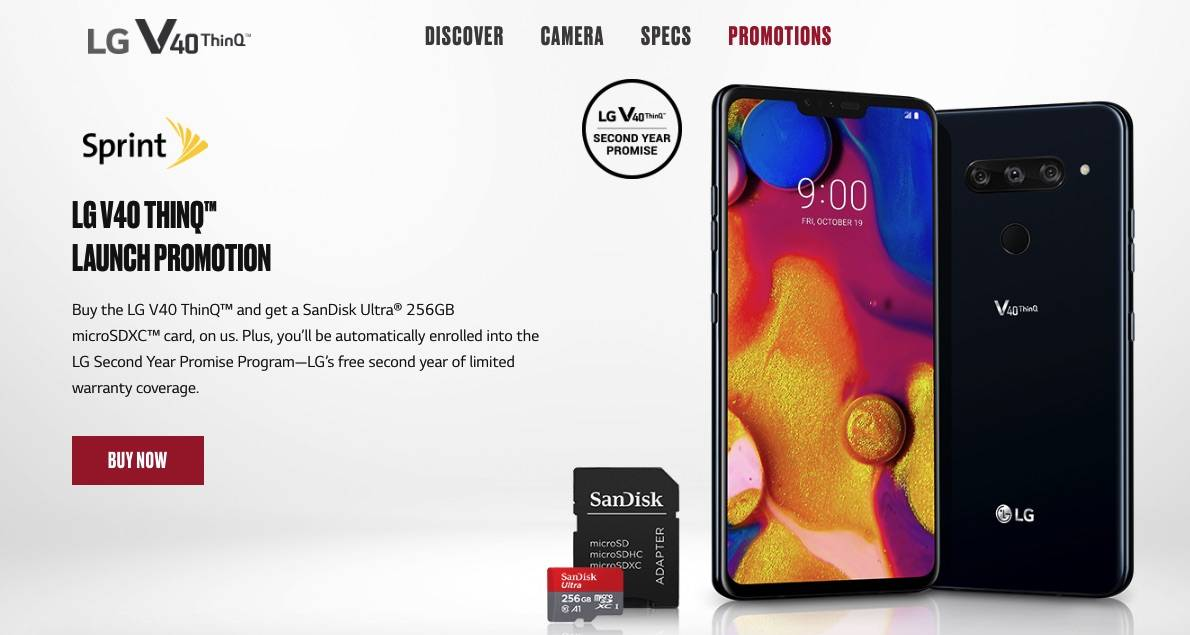 Sprint has a LG V40 ThinQ flex lease deal for $10 a month