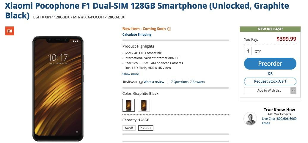 Xiaomi Pocophone F1 Dual-SIM 128GB Smartphone