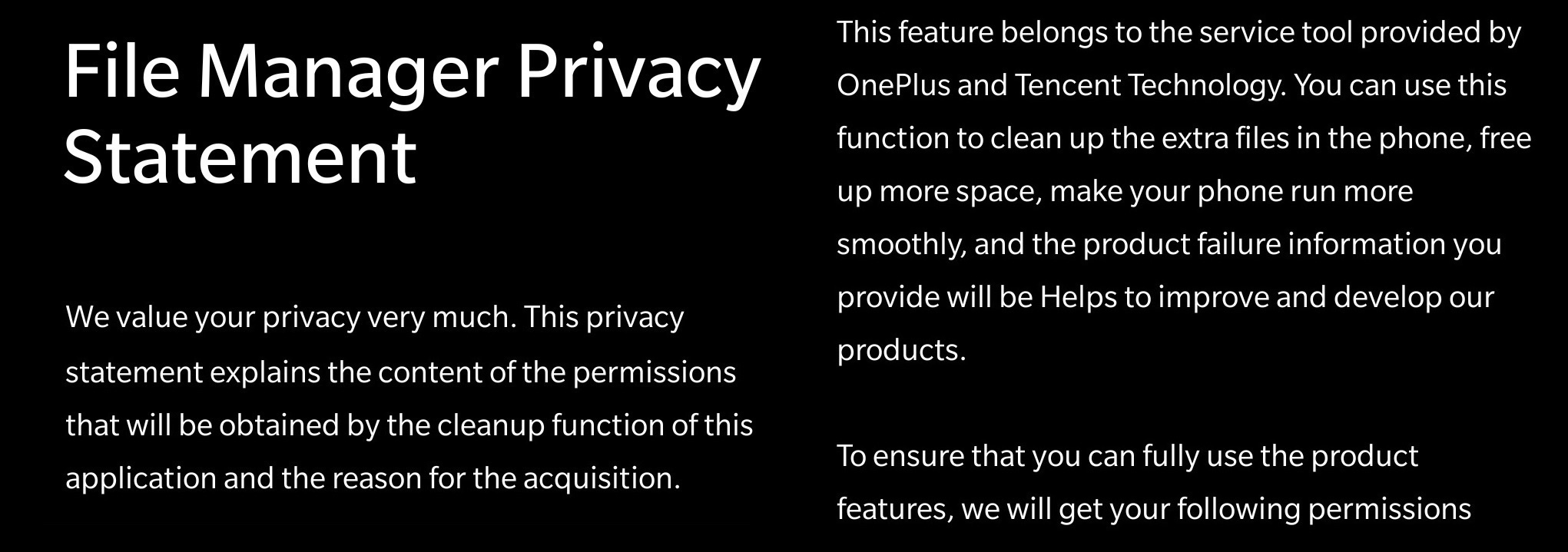 File Manager Privacy Statement