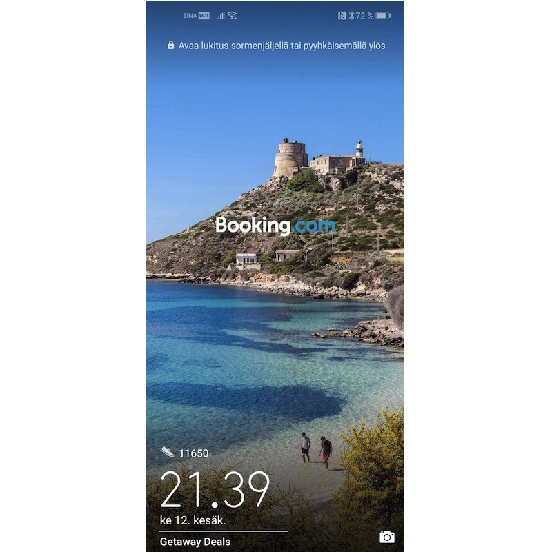Booking com ad Huawei lockscreen