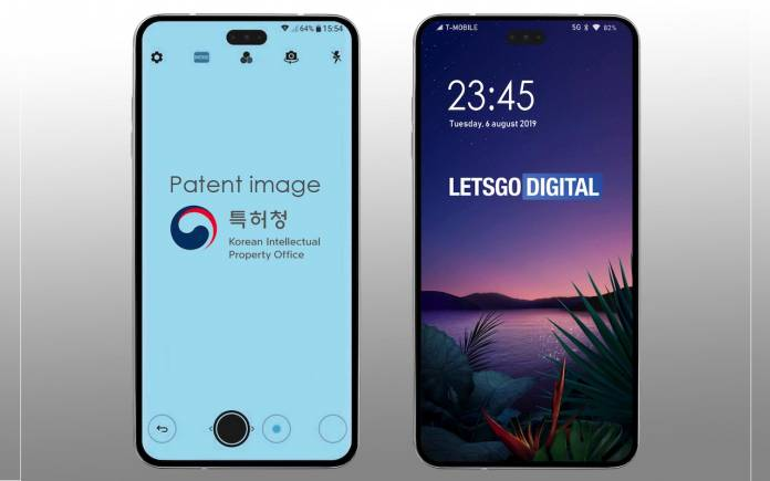 LG smartphone with punch hole camera