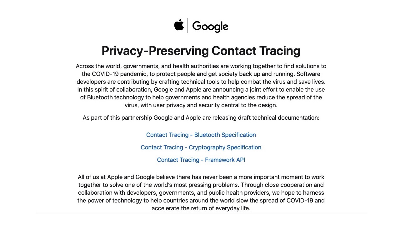 Apple Google Privacy-Preserving Contact Tracing 2