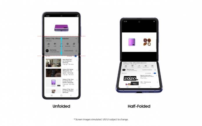 Samsung Galaxy Z Flip YouTube Flex Mode