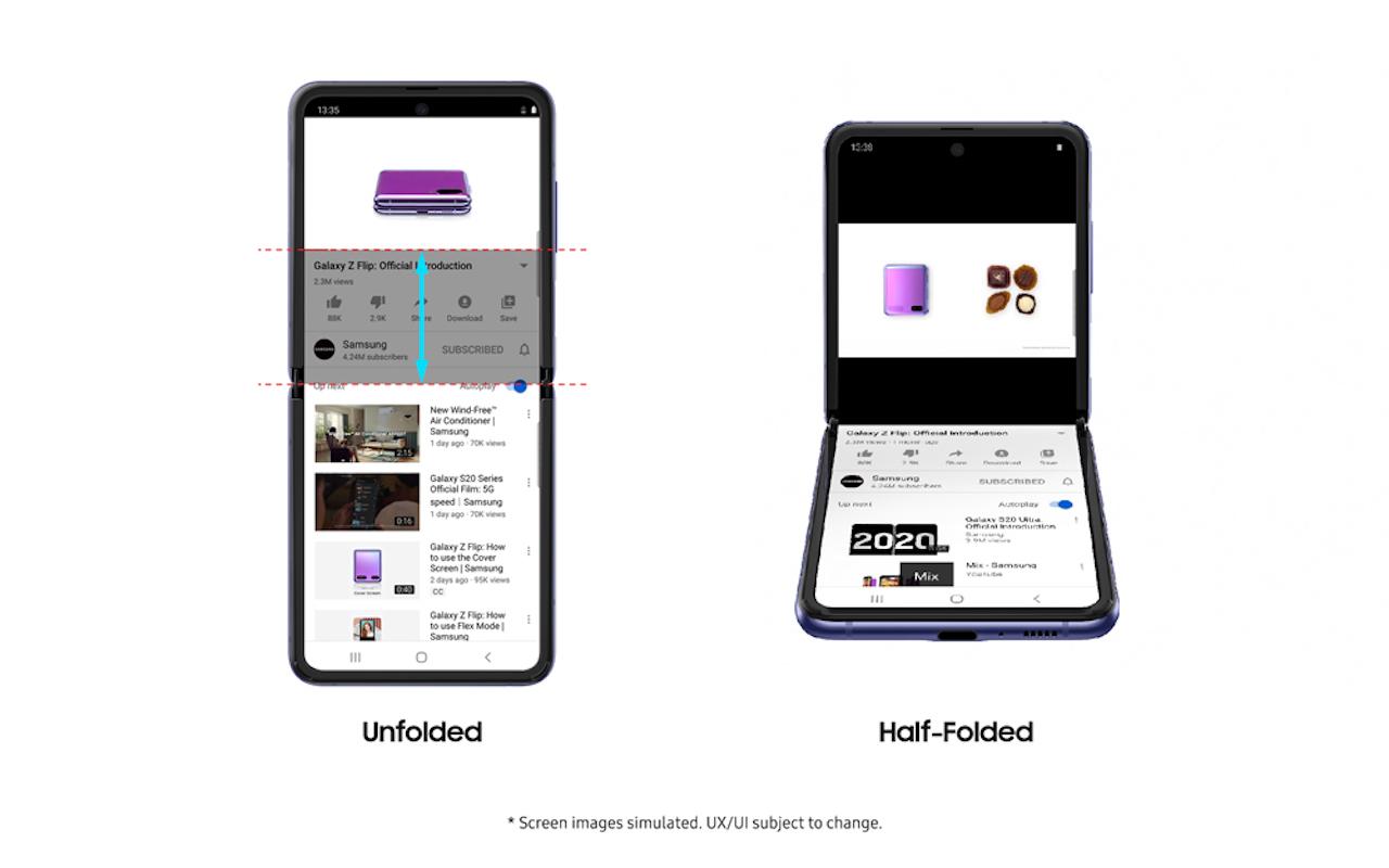YouTube Chế độ Flex cho Samsung Galaxy Màn hình lật Z 1