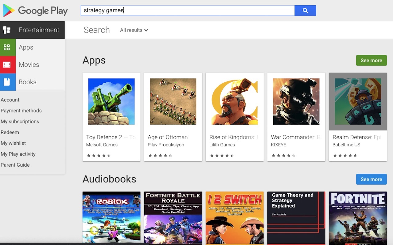 Google Play Store Search Filter